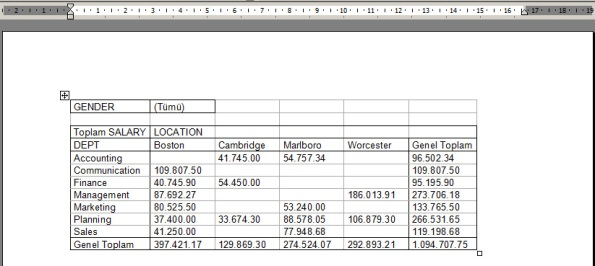 pivot table to word