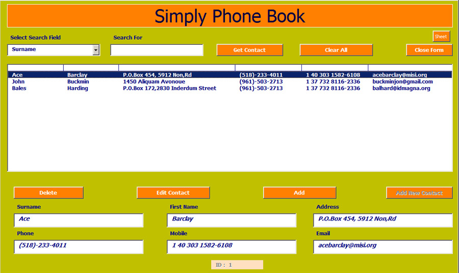 phone book excel template