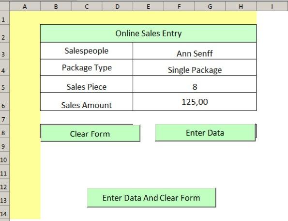 sales input form