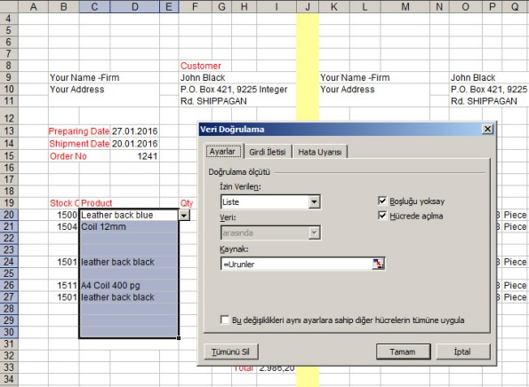 get data vlookup and data validation list