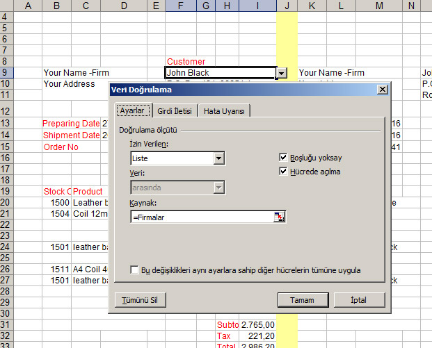 Vlookup and Data Validation List | Net Merkez.Advanced Ms Excel ...