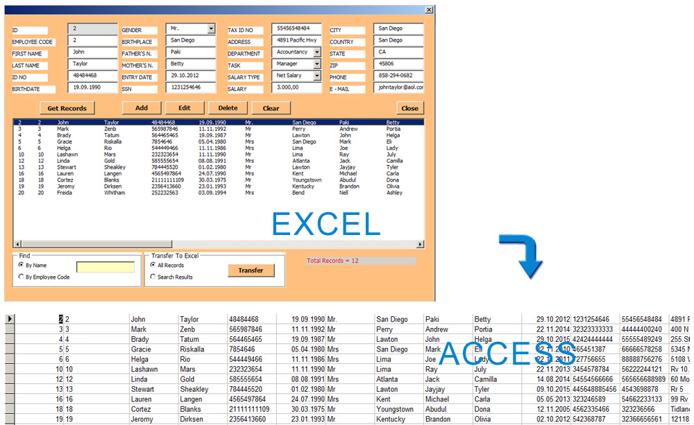 Access Database Example & Database Control With Excel Userform | Net ...